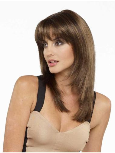 Popular With Bangs Brown Straight Capless Synthetic Wigs