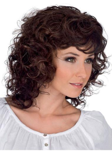 Style 100% Hand-Tied Curly Brown Classic Beauty Wigs