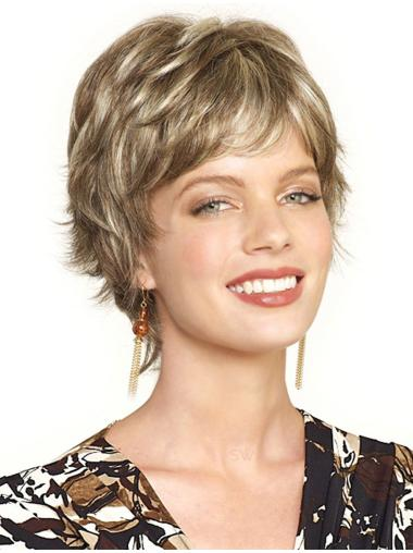 Affordable Blonde Boycuts Wavy Cropped Synthetic Silk Top Lace Wigs