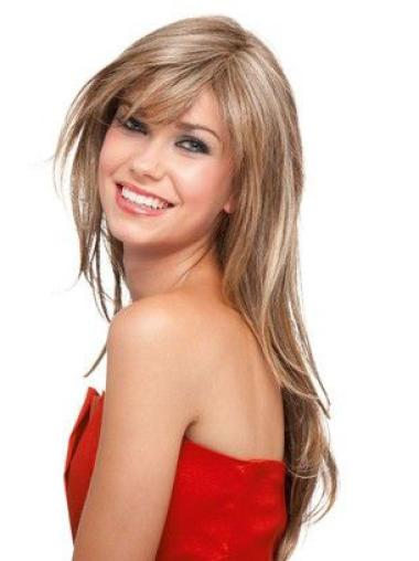 Layered Straight No-Fuss Synthetic Blonde Long Wigs