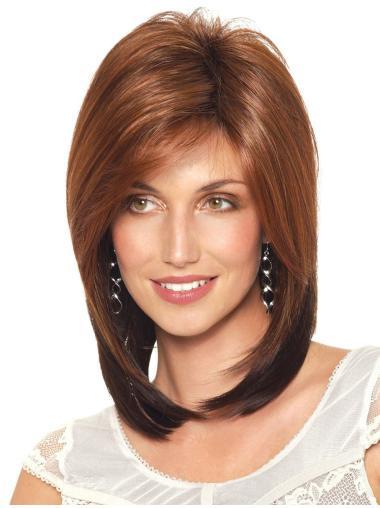 Auburn Straight Shoulder Length Synthetic Capless Women'S Wigs