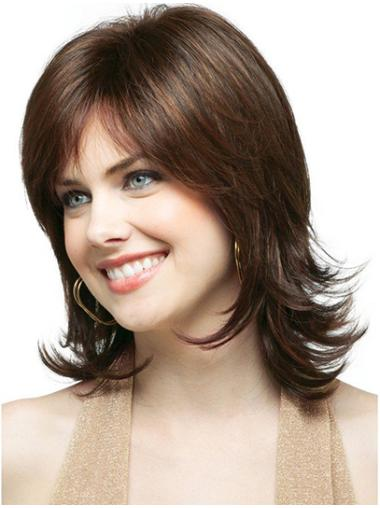 Layered Brown Wavy Shoulder Length Synthetic The Most Natural Looking Capless Wig
