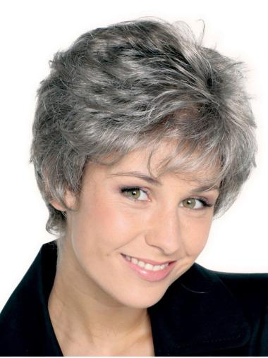 100% Hand-Tied Grey Straight Quality Synthetic Wigs