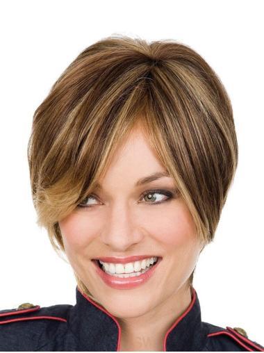 """8"""" Short Beautiful Lace Front Straight Bang Wigs Human Hair"""