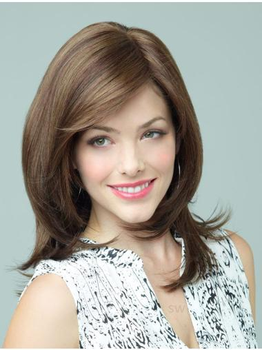 Brown Long Cheapest Lace Synthetic Wig With Bangs