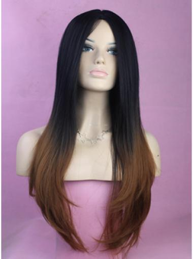 Front 26 Inches Sleek African American Hair Style Wigs Without Bangs