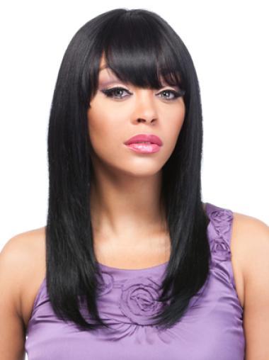 No-Fuss Remy Human Hair Long Yaki African American Wigs