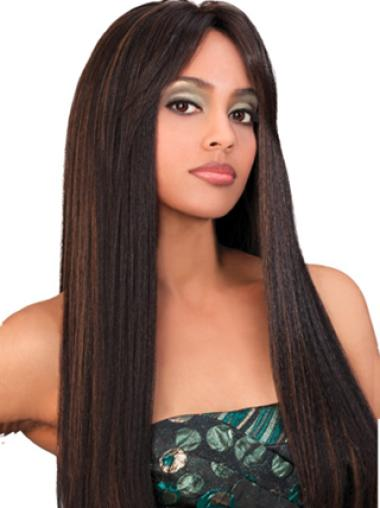 Yaki Brown With Bangs Cheap Synthetic Wigs