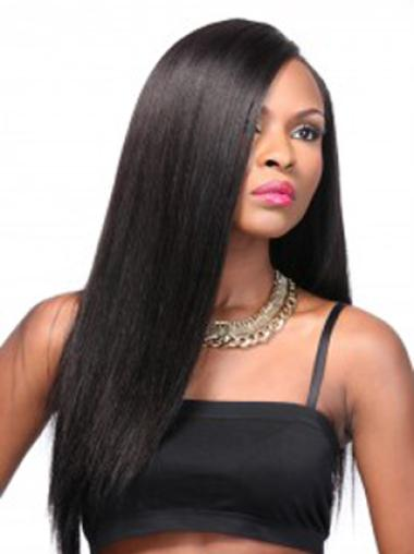 Yaki Black Without Bangs Natural Looking Synthetic Lace Wigs