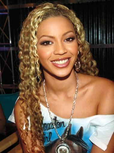 Blonde Curly Beyonce Wig Lace Front 24 Inches Comfortable