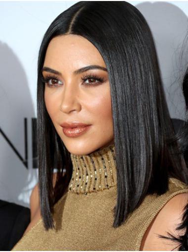 "Straight 14"" Lace Front Shoulder Length Bobs Black New Kim Kardashian Wigs"