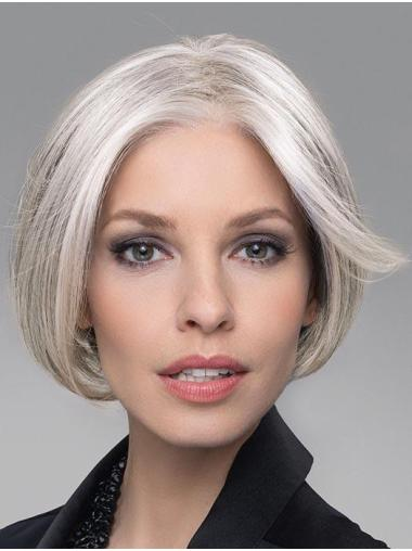 """6"""" Cropped Comfortable Lace Front Straight Grey Wigs"""