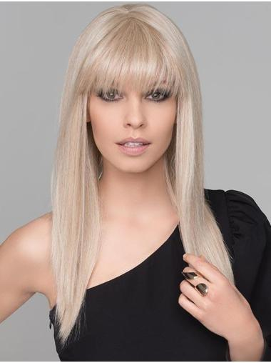 Synthetic No-fuss Long Blonde Straight Monofilament Wigs
