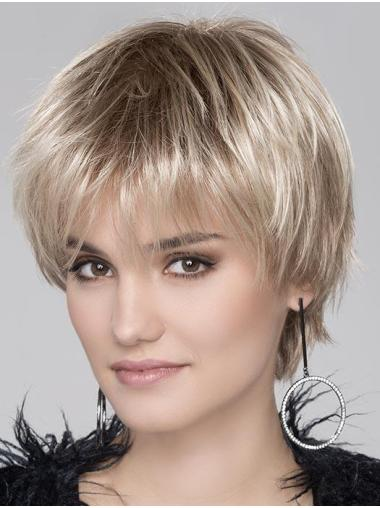 Blonde Cheapest Wavy Cropped Synthetic Bob Wigs