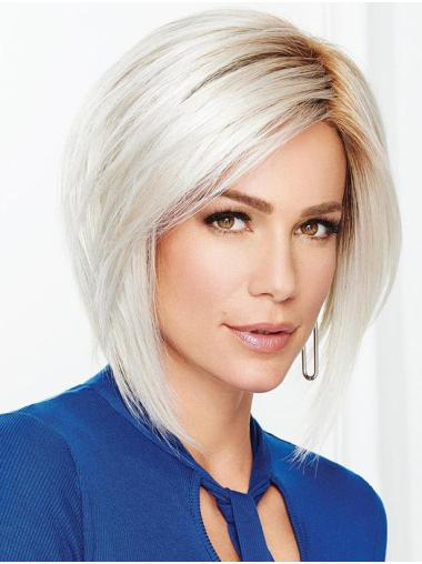 "12"" Chin Length Designed Capless Straight Grey Wigs"