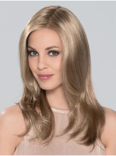 """Without Bangs Monofilament 16"""" Straight Blonde Long Wigs"""
