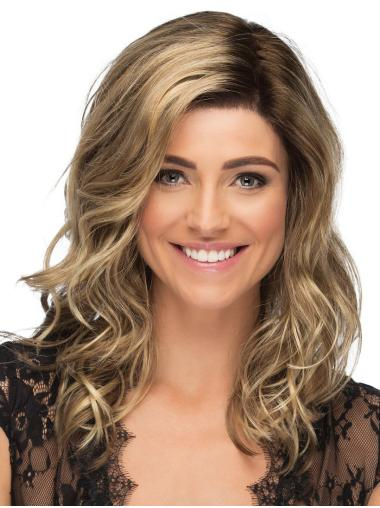 """Without Bangs Monofilament 16"""" Wavy Blonde Long Wigs"""