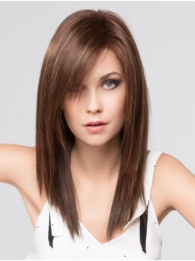 """Brown 16"""" With Bangs Long Trendy Monofilament Wigs"""