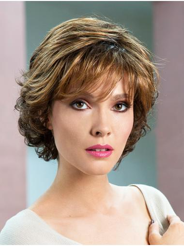 "Wavy Brown Short 8"" Soft Classic Wigs"