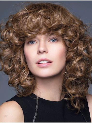 """Curly Brown 14"""" Shoulder Length 100% Hand-tied Wigs"""