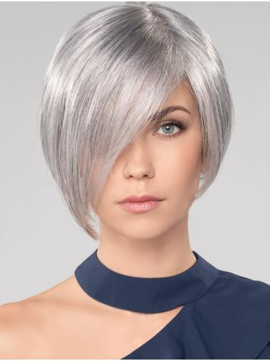 """Straight Chin Length 10"""" Monofilament Convenient Grey Wigs"""