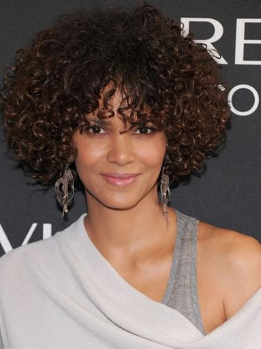 With Bangs Chin Length Remy Human Hair Fabulous Halle Berry Lace Front Wig