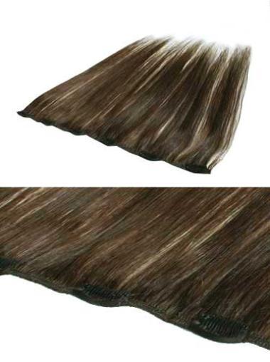 Brown Straight Remy Human Hair Soft Half Wig Human Hair Clip In