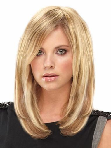 Convenient Straight Blonde Remy Human Hair Wigs Hair Extensions