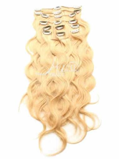 Soft Blonde Remy Human Hair Real Clip In Wig Curly