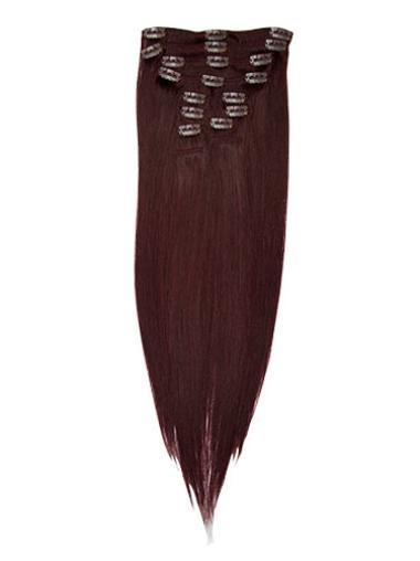 Great Red Straight Clip In Human Hairpieces For Woman