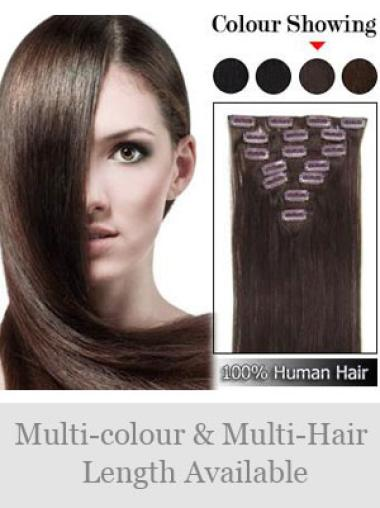 Beautiful Straight Auburn Clip In Human Hairpieces For Woman