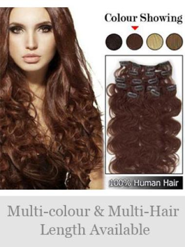 Sleek Remy Human Hair Wavy Wigs And Hair Clips