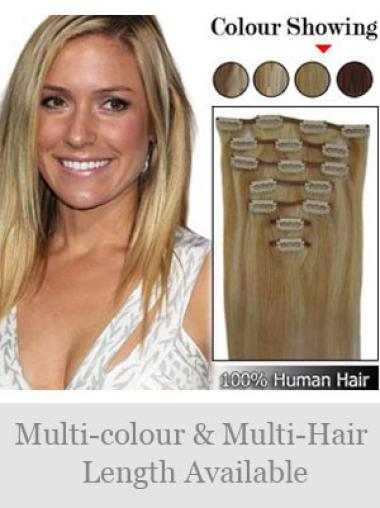 Blonde Straight Durable Remy Human Hair Extensions For Short Hair