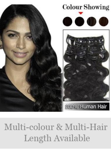 Black Wavy Great Remy Human Hair Wig With Clips