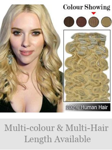 Wavy No-Fuss Remy Human Hair Clip In Blonde Hair Toppers