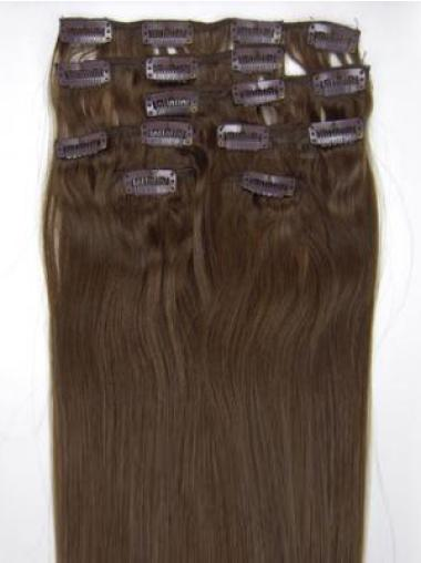 Brown Straight Perfect Remy Human Hair Clip On Wigs