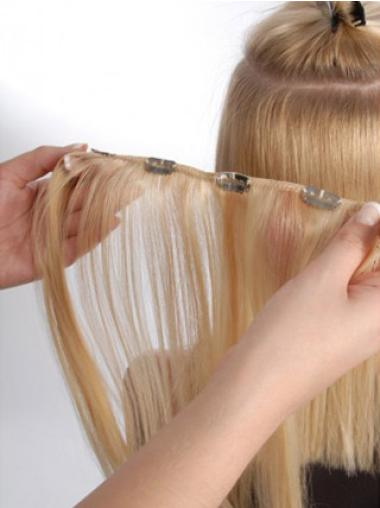 Blonde Fashionable Clip On Wigs For Thinning Hair