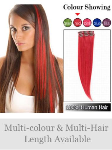 Red Straight Convenient Human Hair Wig Extension