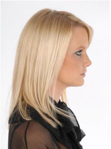 10 Inches Good Blonde Straight Clip On Wigs For Thinning Hair