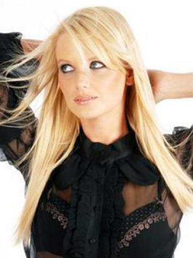 14 Inches Incredible Blonde Straight Clip In Human Hairpieces For Woman