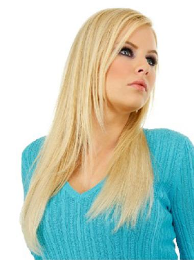 Straight High Quality Blonde Real Hair Clip On Wigs