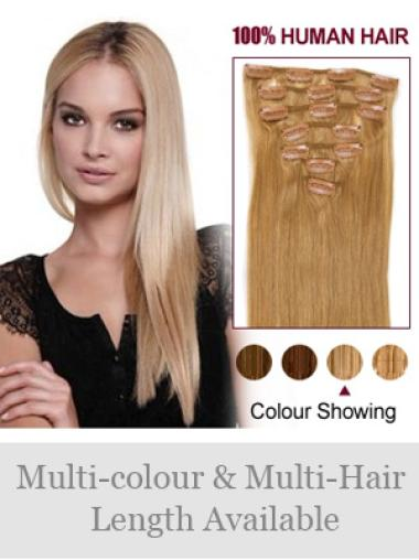 Straight New Blonde Real Hair Clip On Wigs