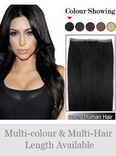 Remy Human Hair Straight Black Extensions For Older Women