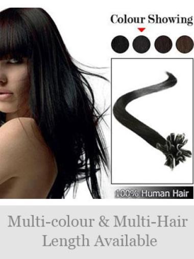 Black Straight Remy Human Hair Nail/U Tip Hair Extensions