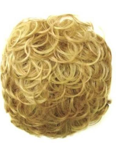 Curly New Blonde Synthetic Hair Clips For Hair System