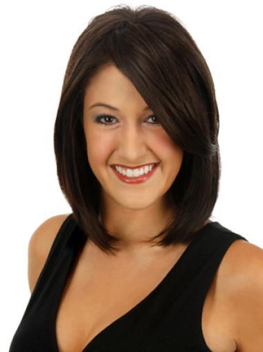 "7.5"" Straight Modern Human Hair Dark Brown Hairpieces"