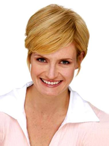 Short Straight Blonde Exquisite Hair Clips Wigs
