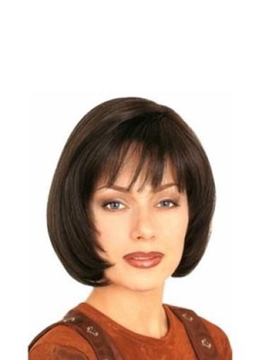 Stylish Brown Chin Length Human Hair Wigs With Bangs Straight