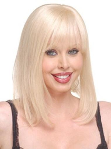 Exquisite Blonde Straight Long Blonde Human Hair Hairpieces