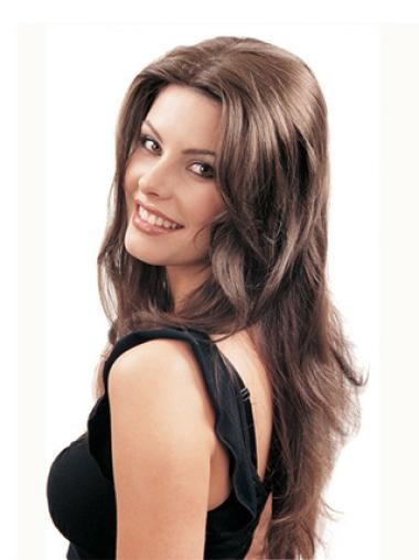 Brown Long Synthetic Hair Falls & Half Wig Cap With Combs